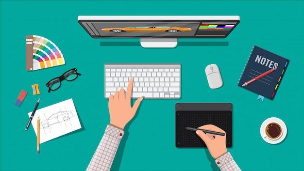 Designer workplace. illustrator desktop with tools Premium Vector