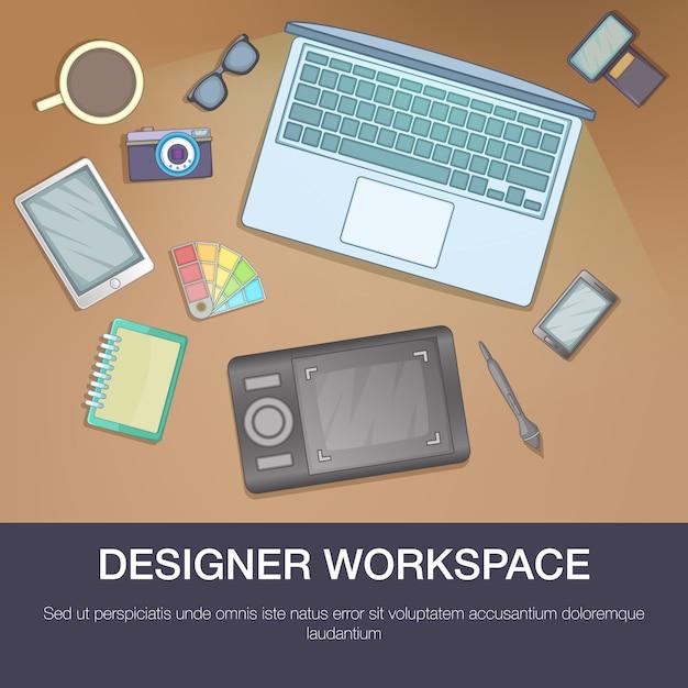 Designer workspace concept, cartoon style Premium Vector