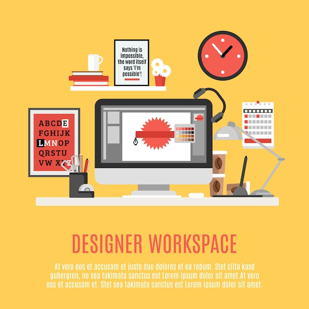 Designer workspace illustration Free Vector