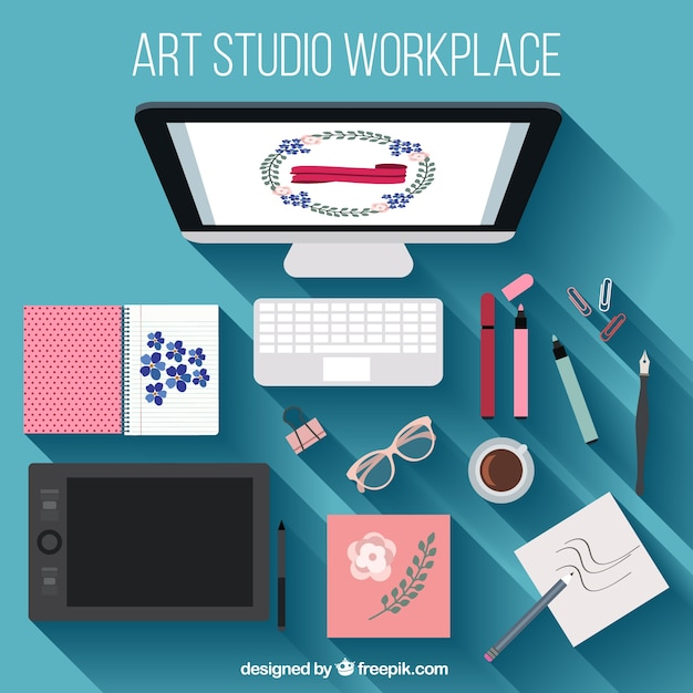 Designer workspace Free Vector