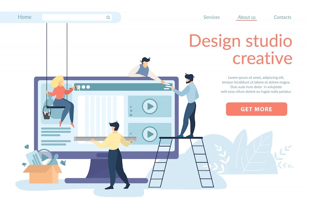 Designers creating site interface, ui, ux develop Premium Vector