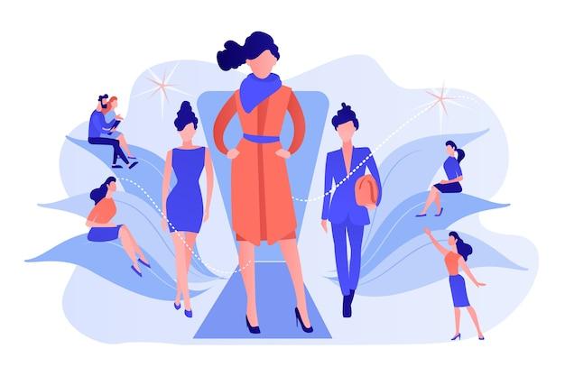 デザイナーは、最新のコレクションをランウェイファッションショーでバイヤーやメディアに展示します。ファッションウィーク、ファッション業界のイベント、滑走路のファッションショーのコンセプト。ピンクがかった珊瑚bluevector分離イラスト 無料ベクター