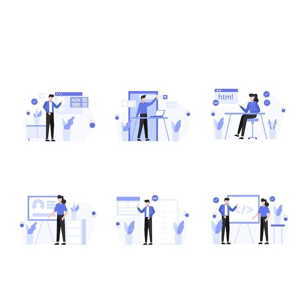 Designers research, create and present websites and app scenes set Premium Vector