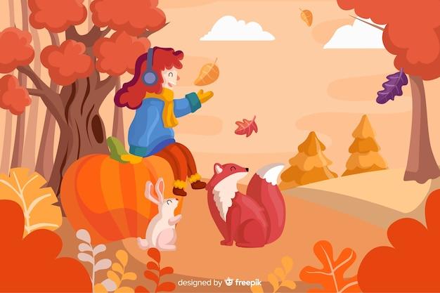 秋の風景の背景フラットdesignlan 無料ベクター