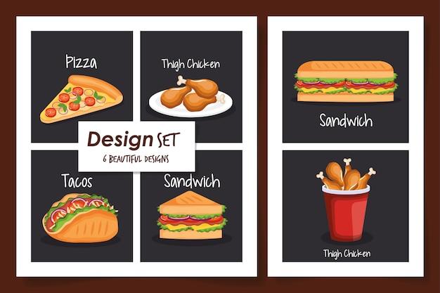 Designs of fast food delicious Premium Vector