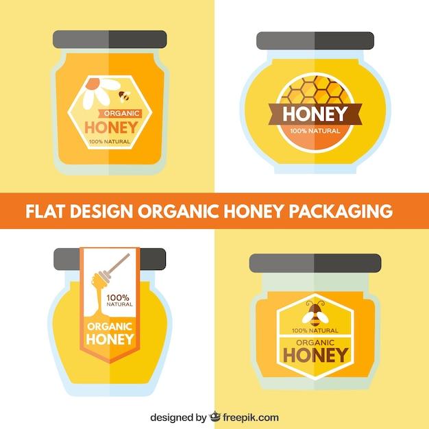 طراحی شیشه مجموعه ای از عسل ارگانیک