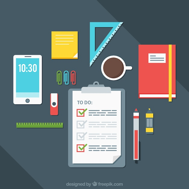 desk background with to do list and office supplies vector free
