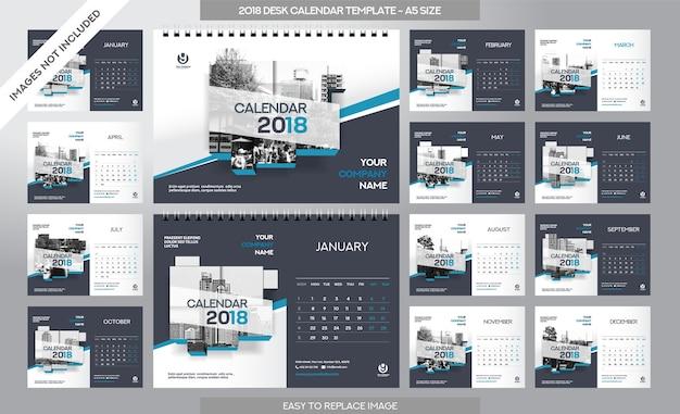 Desk Calendar 2018 Template 12 Months Included A5 Size Art