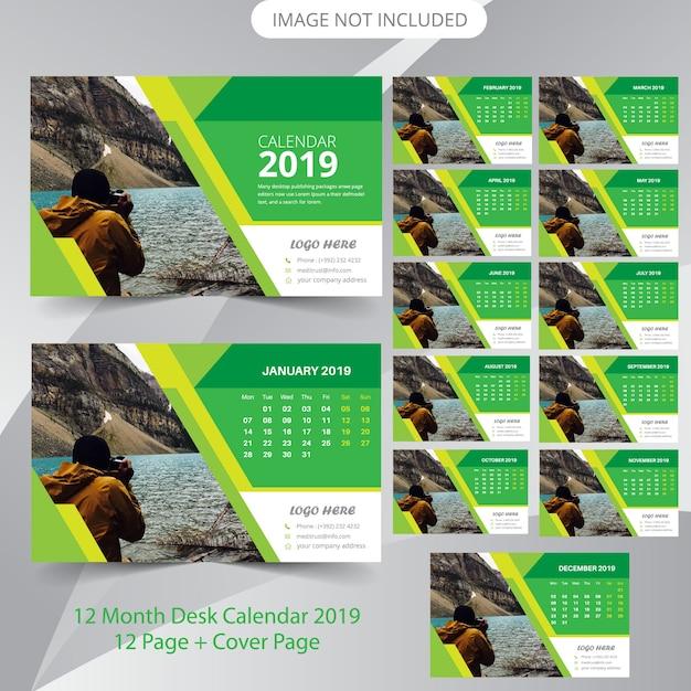 Desk Calendar 2019 Planner Template Vector Premium Download
