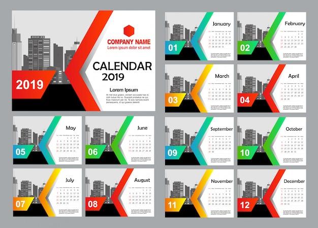 Desk calendar 2019 template - 12 months included  - art modern gradient theme Premium Vector
