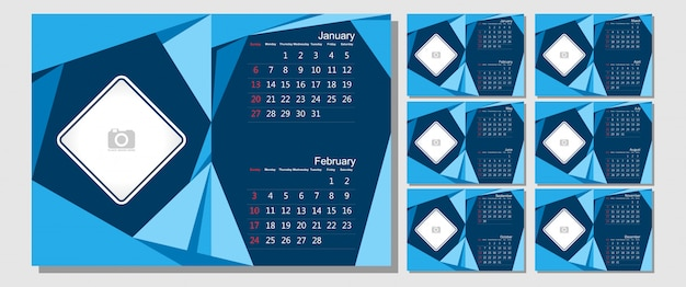 Desk calendar 2019 template - 12 months included  - art modern gradient theme Premium Vector