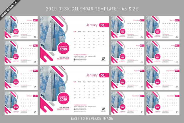 Desk Calendar 2019 Template A5 Size Vector Premium Download
