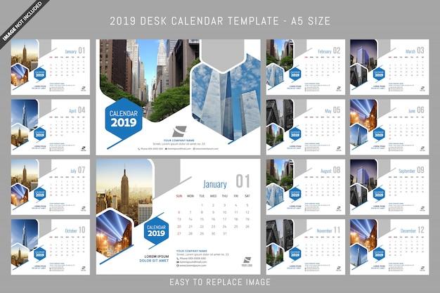 Desk calendar 2019 template a5 size Premium Vector
