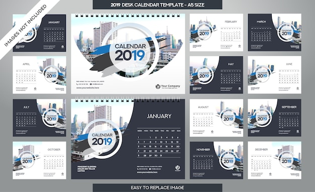 Desk calendar 2019 template Premium Vector