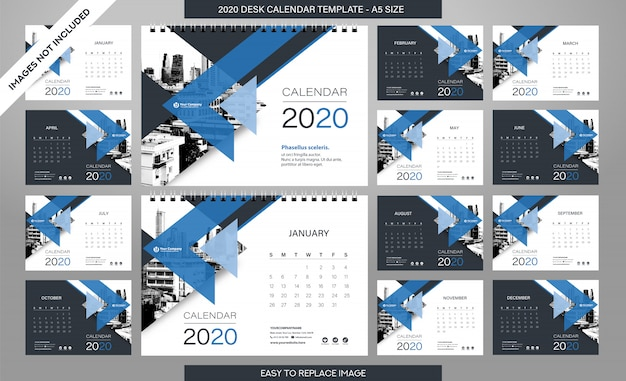 Desk calendar 2020 template - 12 months included Premium Vector