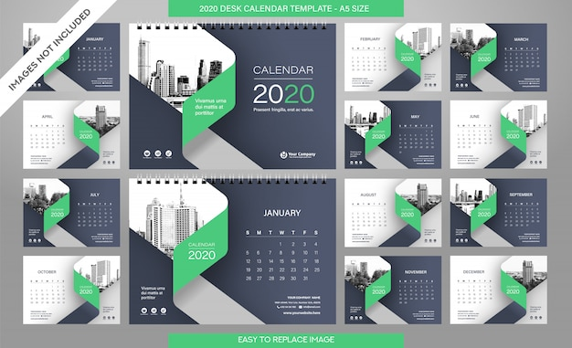 Desk calendar 2020 template  all months included Premium Vector