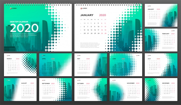 Desk calendar 2020 template for business Premium Vector