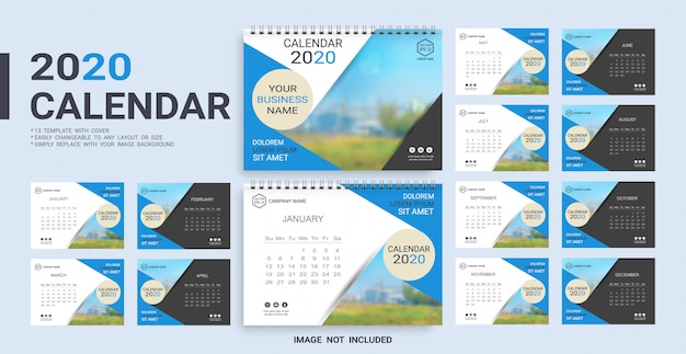 Desk calendar 2020 template Premium Vector