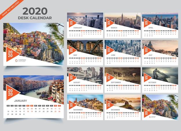 Desk calendar 2020 template | Premium Vector