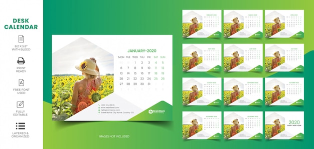 Desk calendar 2020 | Premium Vector