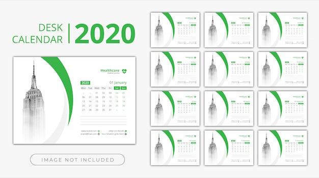 Desk calendar 2020 Premium Vector