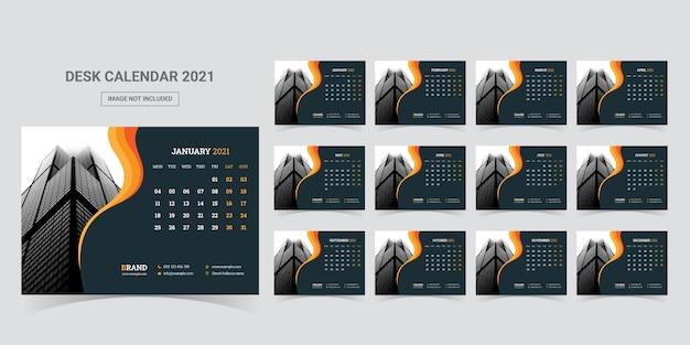 Desk calendar 2021 planner template Premium Vector