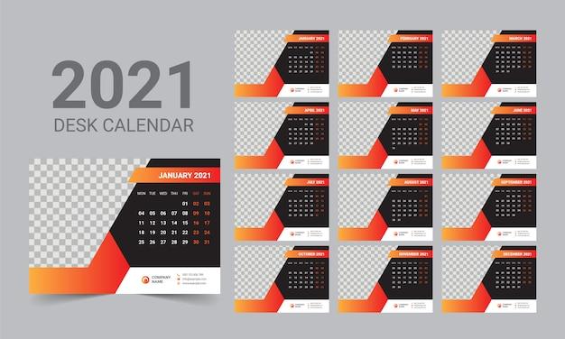 Desk calendar 2021 template Premium Vector