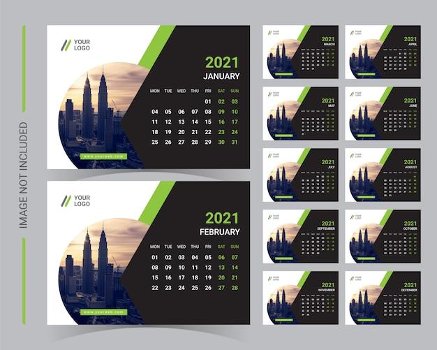 Desk calendar 2021 template | Premium Vector