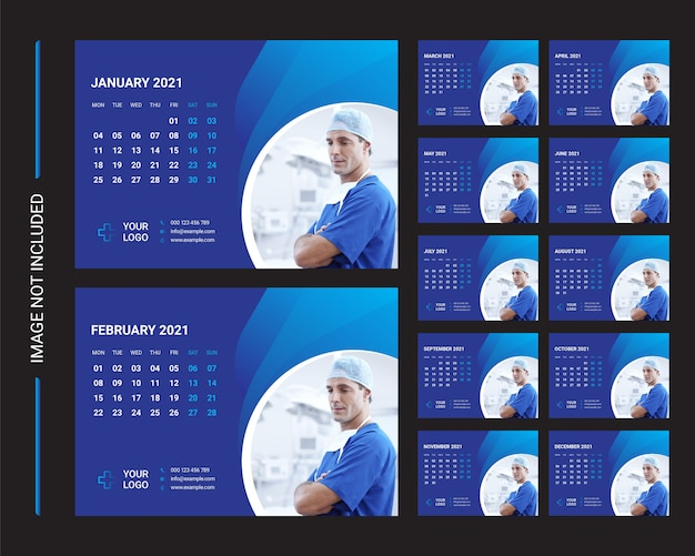 Desk calendar 2021 template Premium Vector