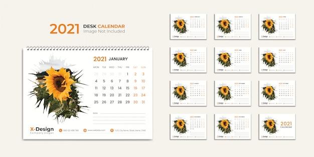 Premium Vector | Desk calendar 2021 template
