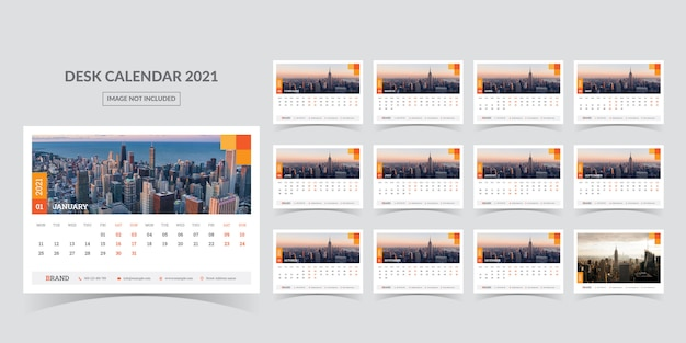 Desk calendar for 2021. week starts on monday Premium Vector