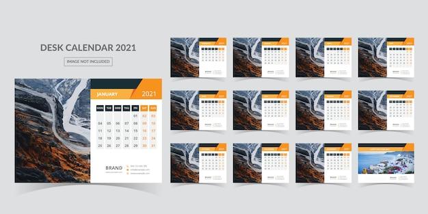 Desk calendar for 2021. week starts on monday Premium Vector
