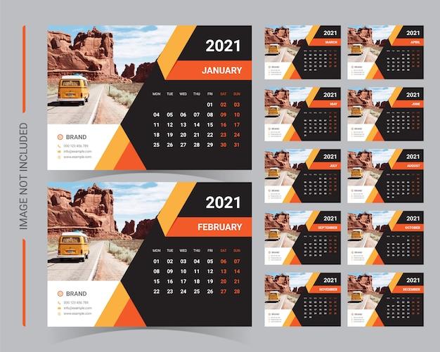 Настольный календарь 2021 Premium векторы