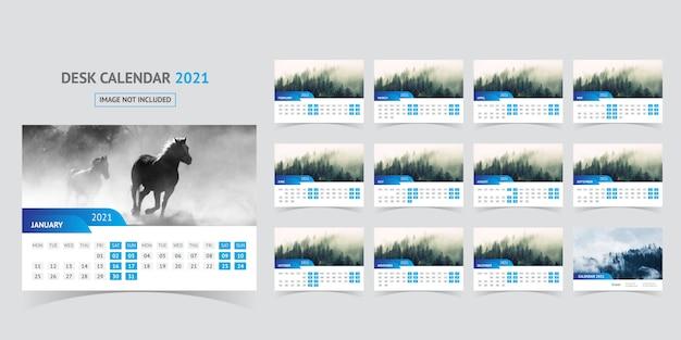 Desk calendar 2021 Premium Vector