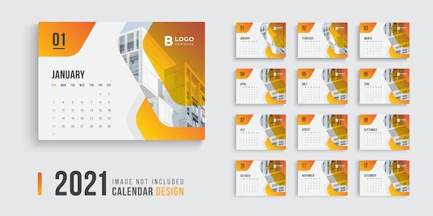 Desk calendar design for 2021 with modern gradient shapes Premium Vector