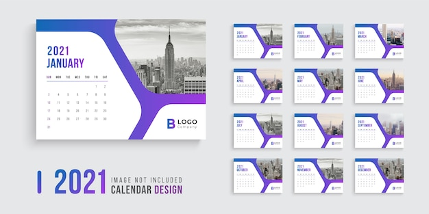 Desk calendar design for 2021 with modern gradient shapes Premium Vector
