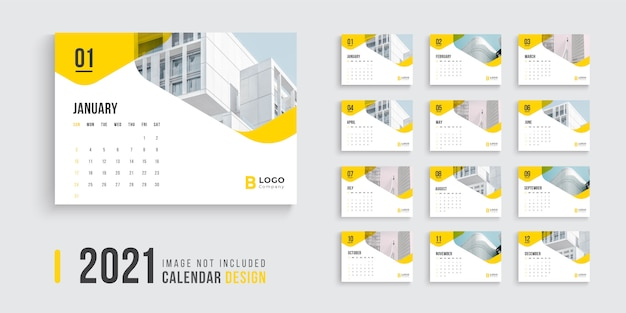 Premium Vector | Desk calendar design for 2021 with yellow color