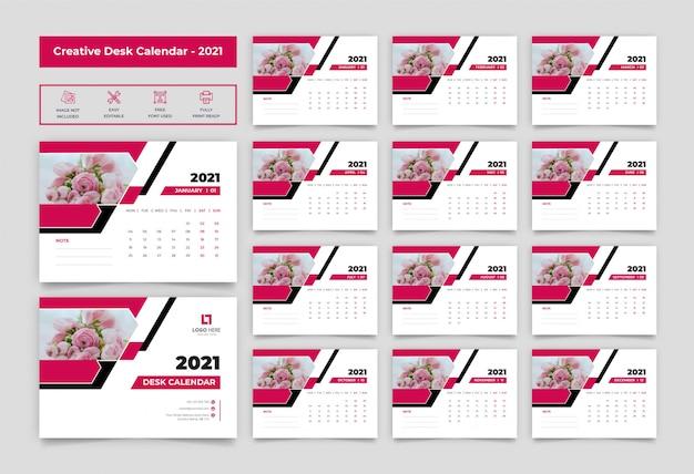 Desk calendar template 2021 Premium Vector
