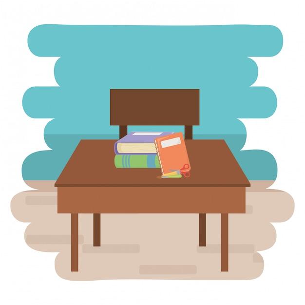 Desk and school supplies design Premium Vector