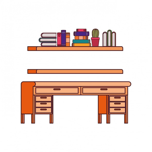 Desk and shelving with stack of books Free Vector