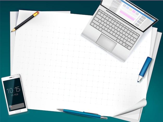 Desk top view with blank sheets, whatman paper, pen, pencil, open laptop, smartphone. business background, Premium Vector