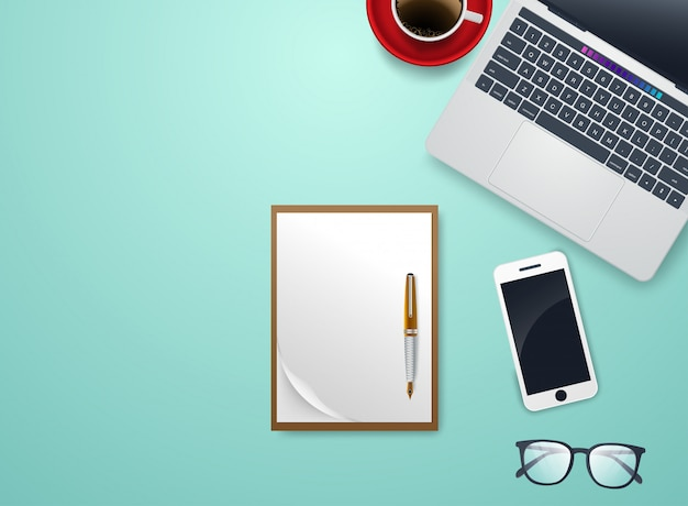 Desk with notebook and accessories vector and copyspace Premium Vector