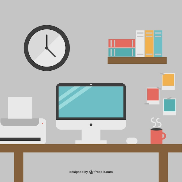 Desk with printer and computer Free Vector