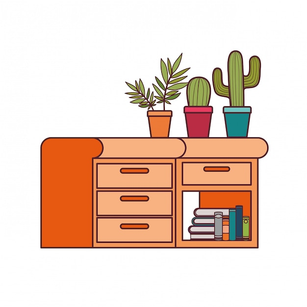 Desk with stack of books Free Vector