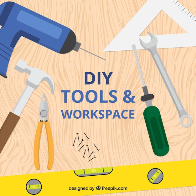 Desk With Woodworking Tools Vector Free Download
