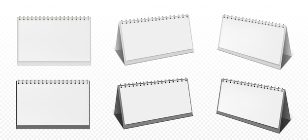 Desktop calendar with spiral and blank pages isolated on transparent background. realistic mockup of white paper calender, office planner or notepad standing on table Free Vector