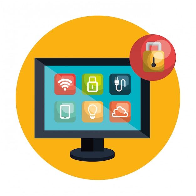 Desktop computer controlling smart home Vector | Free Download
