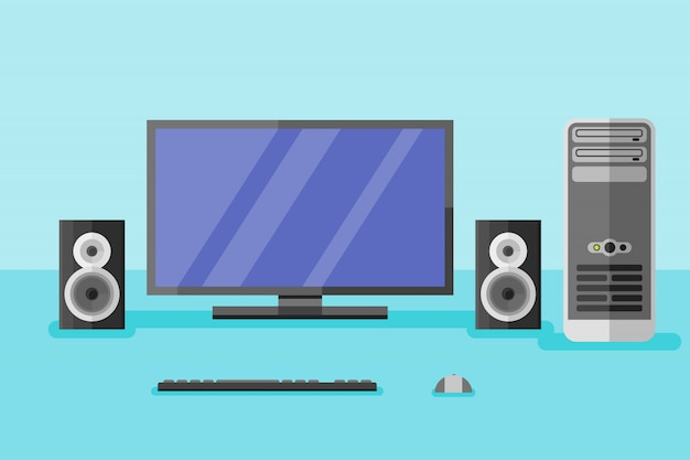 Desktop computer with monitor, speakers, keyboard and mouse in flat style. Premium Vector