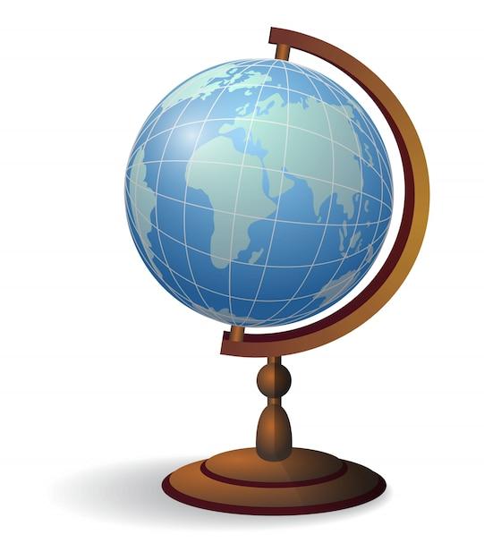 Globo desktop. geografia, concetto di educazione. Vettore gratuito