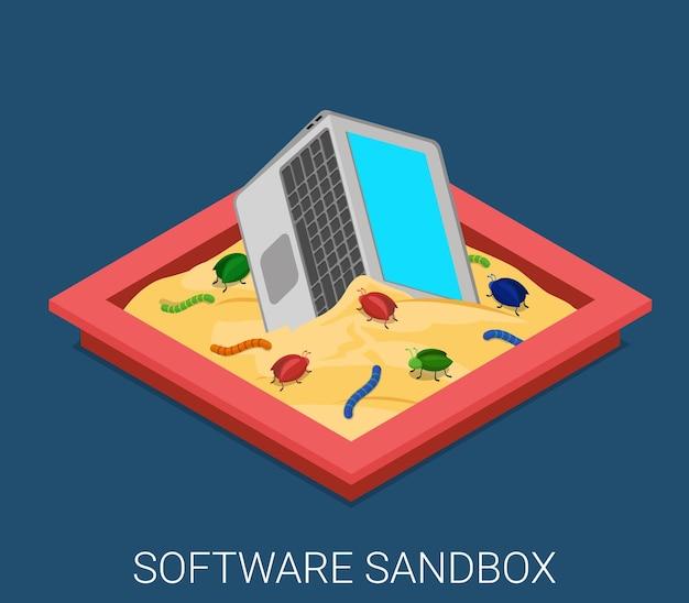 Настольная вредоносная программа разработки приложений песочница отладка плоская изометрия Бесплатные векторы